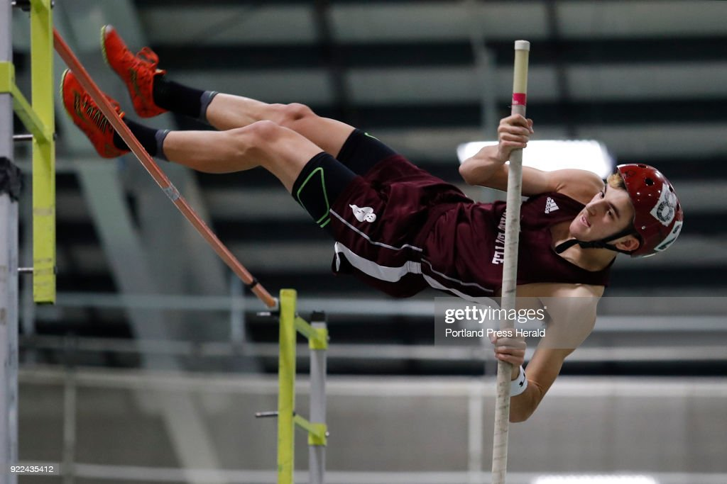 Alexander Thompson, of Edward Little, pole vaults during the Maine Class A Track and Field Championship Monday, Feb. 19, 2018 in Gorham, Maine.