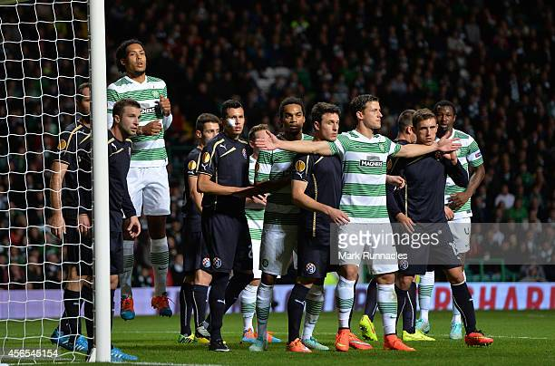 Alexander Tonev of Celtic is tightly marked in the penalty box during the 1-0 victory over Dinamo Zagreb during the UEFA Europa League group D match...