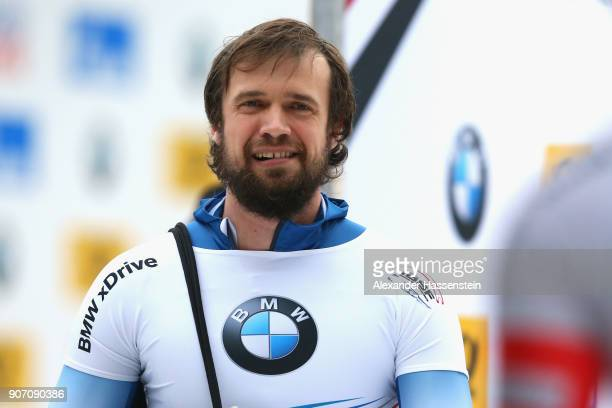 Alexander Tretiakov of Russia reacts at Deutsche Post Eisarena Koenigssee after the BMW IBSF World Cup Skeleton on January 19, 2018 in Koenigssee,...