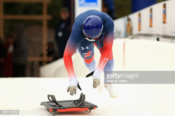 Alexander Tretiakov of Russia takes a training run in the Men's Skeleton during the BMW IBSF Bobsleigh + Skeleton World Cup at Utah Olympic Park...