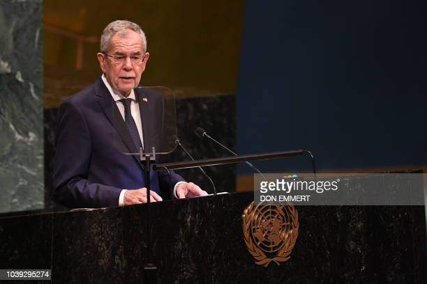 Alexander Van der Bellen president of Austria addresses the Nelson Mandela Peace Summit September 24 2018 a day before the start of the General...