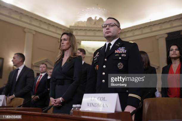 Alexander Vindman director for European affairs on the National Security Council right and Jennifer Williams aide to Vice President Mike Pence arrive...