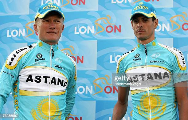 Alexander Vinokourov of Kazakhstan and Andreas Kloeden of Germany and Team Astana pose for the media during the Opening Ceremony of the Tour de...