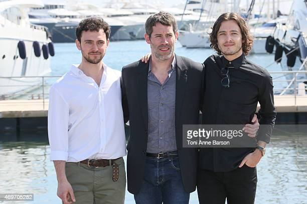 Alexander Vlahos Jalil Lespert and George Blagden attend the 'Versailles' photocall as part of MIPTV 2015 on April 14 2015 in Cannes France