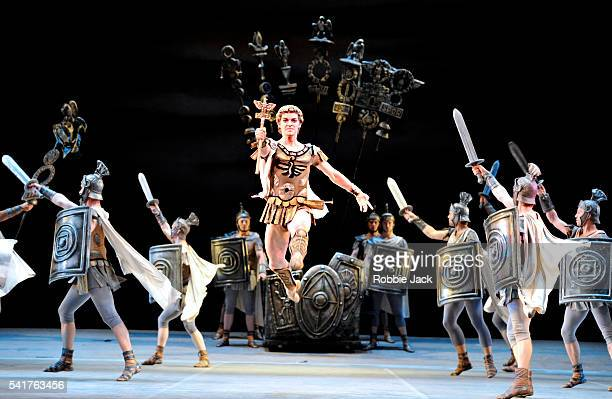 """Alexander Volchkov as Crassus with artists of the company in the Bolshoi Ballet's production of Yuri Grigorovich's """"Spartacus"""" at the Royal Opera..."""