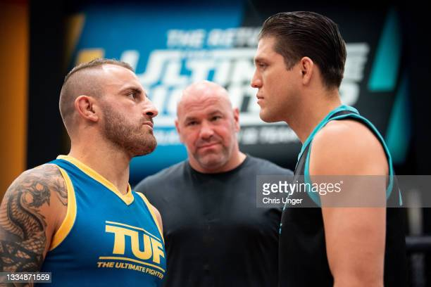 Alexander Volkanovski and Brian Ortega face off during the filming of The Return of The Ultimate Fighter at UFC APEX on May 20, 2021 in Las Vegas,...