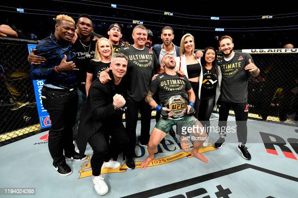 Alexander Volkanovski of Australia and his team celebrate during the UFC 245 event at TMobile Arena on December 14 2019 in Las Vegas Nevada