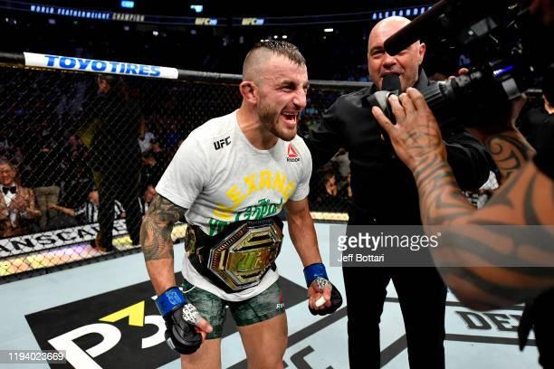 Alexander Volkanovski of Australia celebrates his win during the UFC 245 event at T-Mobile Arena on December 14, 2019 in Las Vegas, Nevada.