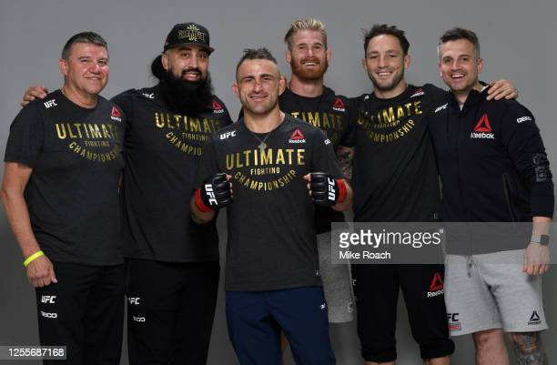 Alexander Volkanovski of Australia poses for a portrait after his victory over Max Holloway during the UFC 251 event at Flash Forum on UFC Fight...