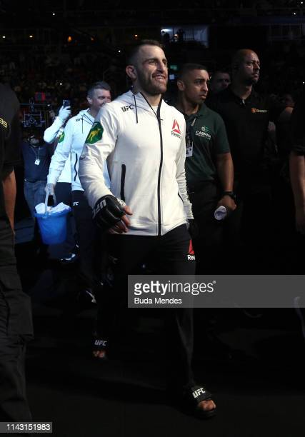Alexander Volkanovski of Australia prepares to fight Jessica Andrade of Brazil in their featherweight bout during the UFC 237 event at Jeunesse Arena...