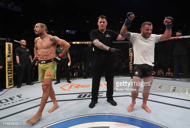 Alexander Volkanovski of Australia reacts after his victory over Jose Aldo of Brazil in their featherweight bout during the UFC 237 event at Jeunesse...