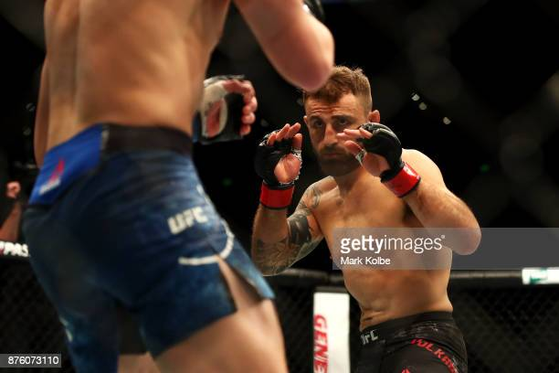 Alexander Volkanovski of Australia shapes to fight Shane Young of New Zealand in their catchweight bout during the UFC Fight Night at Qudos Bank...