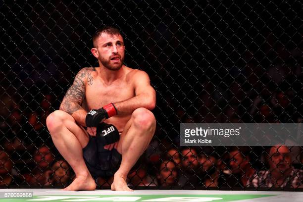 Alexander Volkanovski of Australia shows his frustration after defeating Shane Young of New Zealand in their catchweight bout during the UFC Fight...