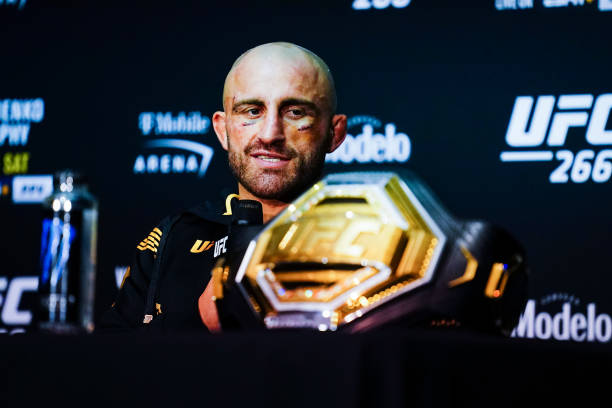 Alexander Volkanovski of Australia speaks during his post fight press conference after his win against Brian Ortega in their Featherweight title...