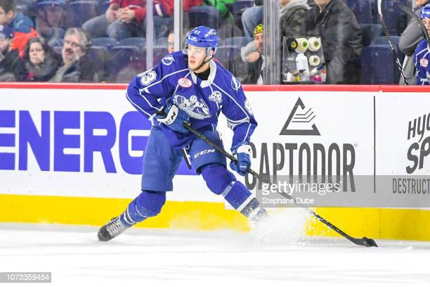 Alexander Volkov makes a sudden stop while in control of the puck against the Laval Rocket at Place Bell on December 14 2018 in Laval Quebec