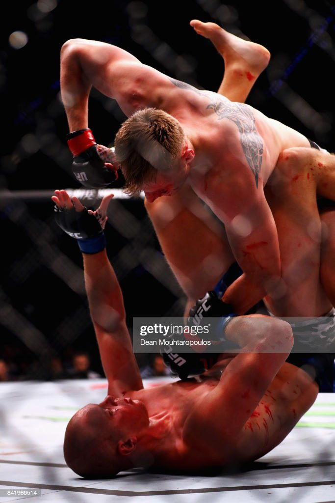 Alexander Volkov of Russia and Stefan Struve of the Netherlands compete in their Heavyweight bout during the UFC Fight Night at Ahoy on September 2, 2017 in Rotterdam, Netherlands.