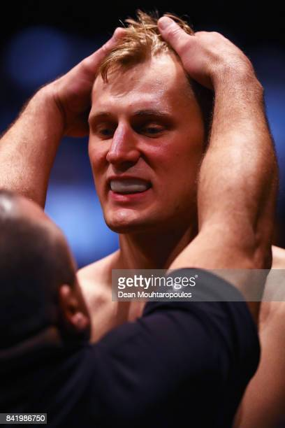 Alexander Volkov of Russia gets ready to fight against Stefan Struve of the Netherlands in their Heavyweight bout during the UFC Fight Night at Ahoy...