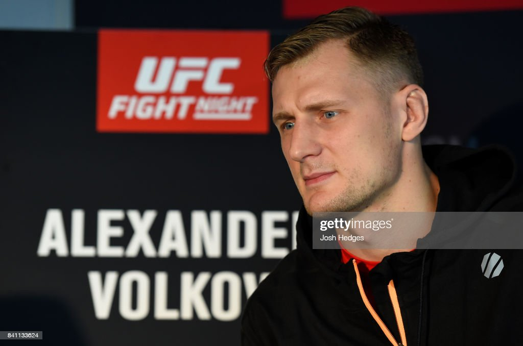 Alexander Volkov of Russia interacts with media during the UFC Ultimate Media Day at the Inntel Rotterdam Centre Hotel on August 31, 2017 in Rotterdam, Netherlands.