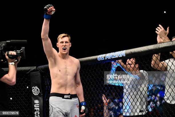 Alexander Volkov of Russia is introduced prior to facing Fabricio Werdum of Brazil in their heavyweight bout inside The O2 Arena on March 17 2018 in...