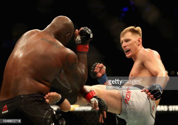 Alexander Volkov of Russia kicks Derrick Lewis in their heavyweight bout during the UFC 229 event inside TMobile Arena on October 6 2018 in Las Vegas...