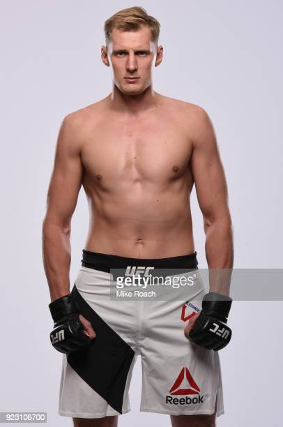Alexander Volkov of Russia poses for a portrait during a UFC photo session inside the Kansas City Marriott Downtown on April 11 2017 in Kansas City...