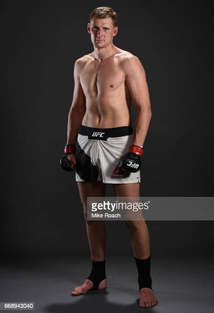 Alexander Volkov of Russia poses for a post fight portrait backstage during the UFC Fight Night event at Sprint Center on April 15 2017 in Kansas...