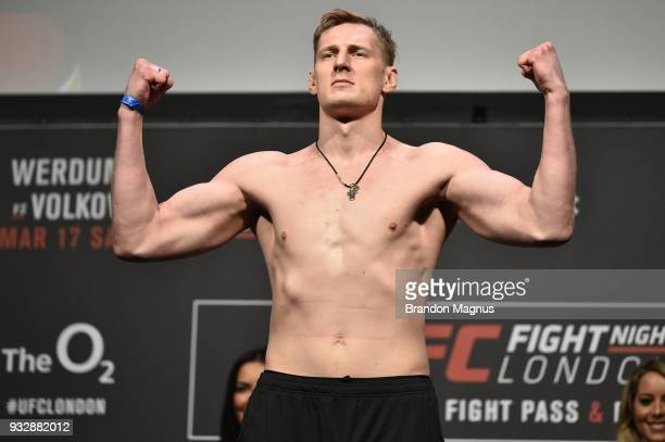 Alexander Volkov of Russia poses on the scale during the UFC Fight Night weighin inside The O2 Arena on March 16 2018 in London England