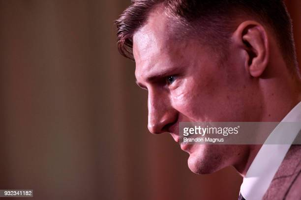 Alexander Volkov of Russia speaks to the media during the UFC Fight Night Ultimate Media Day in Glaziers Hall on March 15 2018 in London England