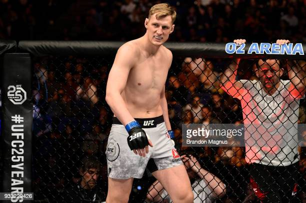 Alexander Volkov of Russia stands in his corner prior to facing Fabricio Werdum of Brazil in their heavyweight bout inside The O2 Arena on March 17...