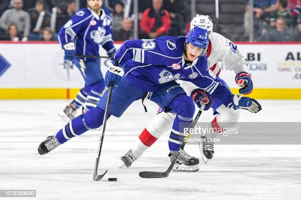 Alexander Volkov of the Syracuse Crunch in control of the puck skating fast against the Laval Rocket at Place Bell on December 14 2018 in Laval Quebec