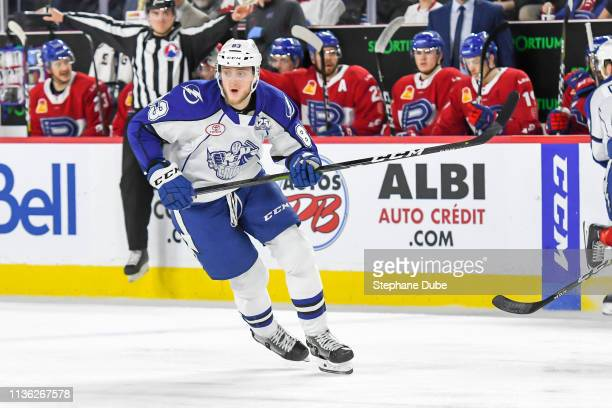 Alexander Volkov of the Syracuse Crunch skates up the ice at Place Bell on March 13 2019 in Laval Quebec