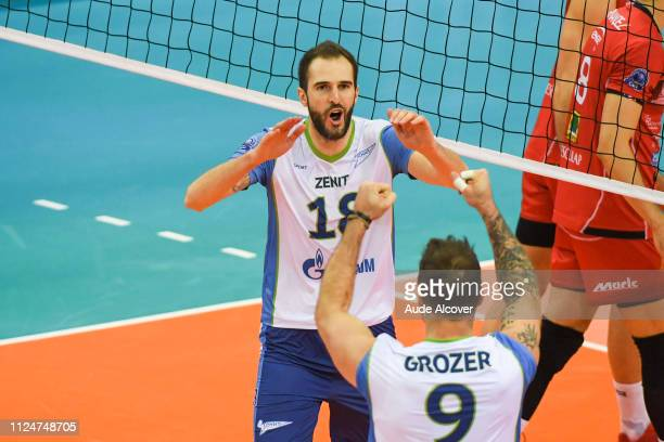 Alexander Volkov of Zenit celebrates during the Champions League CEV match between Chaumont and Zenit of St Petersburg on February 13 2019 in Reims...