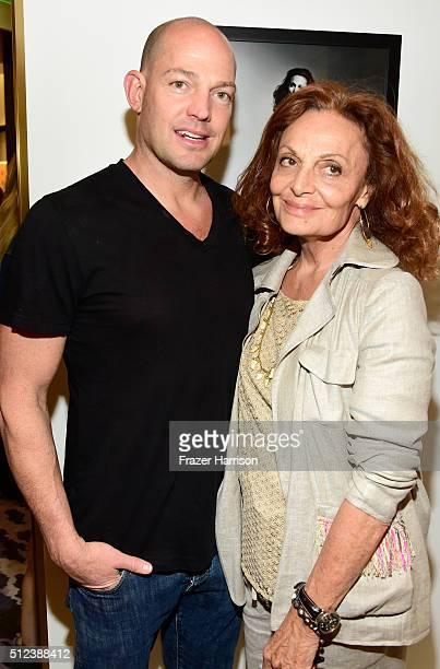 Alexander von Furstenberg and fashion designer Diane von Furstenberg attend a shopping event at Diane von Furstenberg at The Grove to support the...