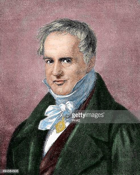 Alexander von Humboldt German naturalist and geographer Engraving of A Neumann in Our Century 1883 Colored