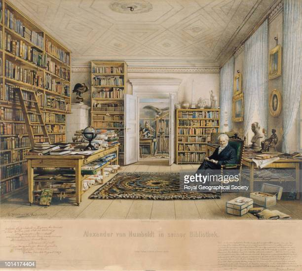 Alexander von Humboldt in his library, circa 1855, Portrait of the German naturalist and explorer Alexander von Humboldt at the age of 86 surrounded...