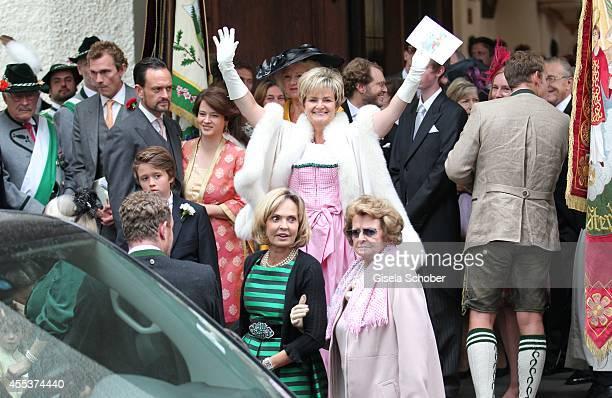 Alexander von Schoenburg Glauchau and his wife Irina Gloria von Thurn und Taxis sister Maya von Schoenburg Glauchau and their mother Beatrix attend...