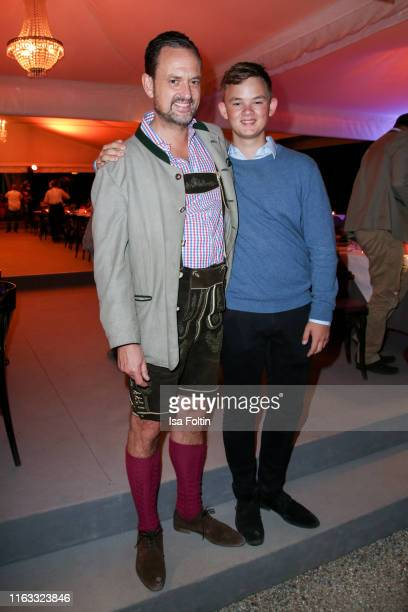 Alexander von SchoenburgGlauchau and his son Valentin von SchoenburgGlauchau attend the Kool the Gang concert during the Thurn Taxis Castle Festival...