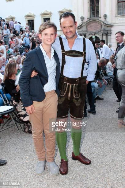 Alexander von SchoenburgGlauchau and his son Valentin von SchoenburgGlauchau during the Haindling concert at the Thurn Taxis Castle Festival 2017 on...