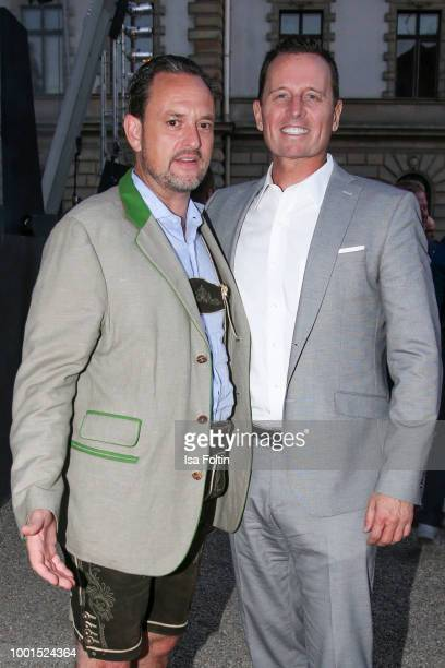 Alexander von SchoenburgGlauchau and US ambassador Richard Grenell during the Brian Ferry concert at the Thurn Taxis Castle Festival 2018 on July 18...