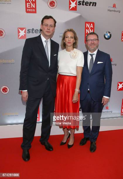 Alexander von Schwerin Julia Jaeckel and Christian Krug during the Henri Nannen Award red carpet arrivals on April 27 2017 in Hamburg Germany