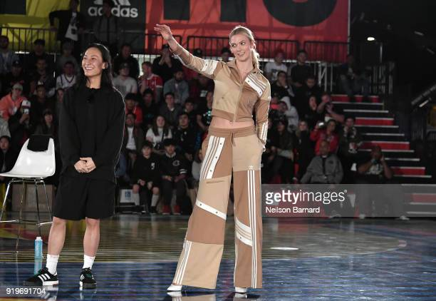 Alexander Wang and Karlie Kloss at adidas Creates 747 Warehouse St an event in basketball culture on February 17 2018 in Los Angeles California
