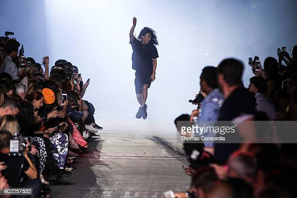 Alexander Wang levatates after presenting his Spring 2017 collection at The Arc Skylight at Moynihan Station during New York Fashion Week on...