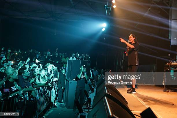Alexander Wang on stage at the Alexander Wang S/S 2017 party at Pier 94 in New York NY on September 10 2016