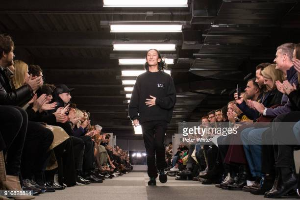Alexander Wang walks the runway at Alexander Wang Fashion Show during New York Fashion Week at 4 Times Square on February 10 2018 in New York City
