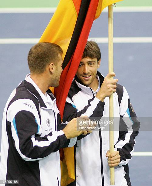 Alexander Waske and Benjamin Becker of Germany celebrates after winning the Davis Cup match between Tommy Haas of Germany and Ivan Ljubicic of...