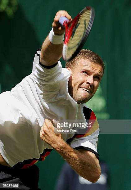 Alexander Waske of Germany in action against Rafael Nadal of Spain during the Gerry Weber Open on June 8 2005 in Halle Germany