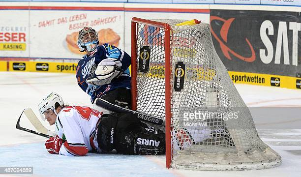 Alexander Weiss of Koeln slides into Timo Pielmeier's goal in game six of the DEL final playoffs between ERC Ingolstadt and Koelner Haie at Saturn...