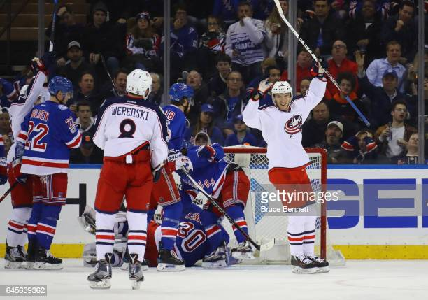 Alexander Wennberg of the Columbus Blue Jackets celebrates his goal at 947 of the second period against the New York Rangers at Madison Square Garden...