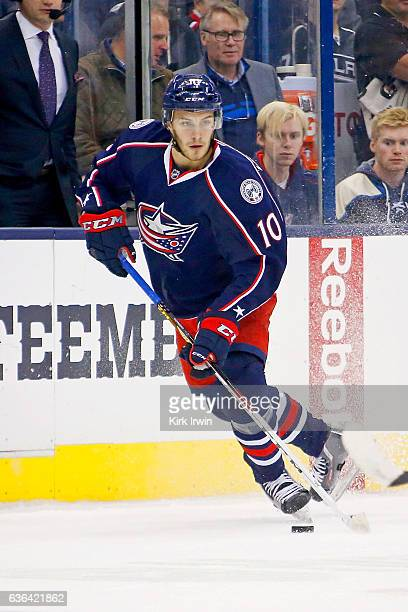 Alexander Wennberg of the Columbus Blue Jackets controls the puck during the game against the Los Angeles Kings on December 20 2016 at Nationwide...