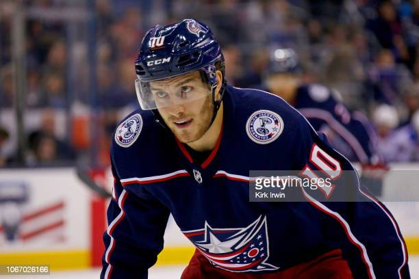 Alexander Wennberg of the Columbus Blue Jackets lines up for a face off during the game against the New York Rangers on November 10 2018 at...